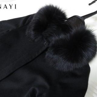 ANAYI - 美品 ANAYI アナイ フォックスファー フレアー袖 コート 黒 36