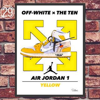AIR JORDAN 1 off-white コミックシューズ ポスター 額付き