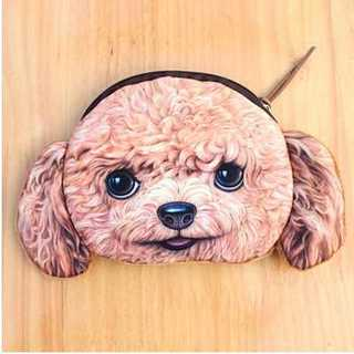 トイプードル 犬 顔 小銭入れ 財布 イヤフォンケース ミニポーチ(コインケース)