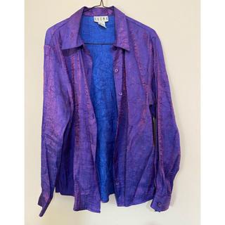 vintage  シワブラウス パープルシャツ 古着(シャツ/ブラウス(半袖/袖なし))