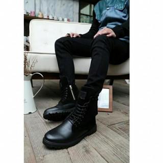 メンズ サイドジッパーブーツ ライダーブーツ ミリタリーブーツ 黒(ブーツ)