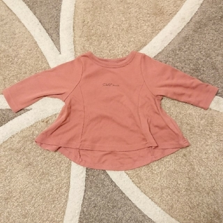 petit main - プティマイン 長袖 裾フレアカットソー ピンク 80 ロゴ