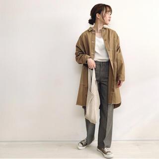 シマムラ(しまむら)の美品 しまむら オーバーサイズロングJK ステッチロングジャケット てらさん着用(ロングコート)