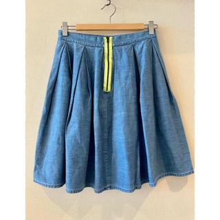アングローバルショップ(ANGLOBAL SHOP)のアングローバル購入 uke デニム ボックスプリーツ スカート 38 M(ひざ丈スカート)