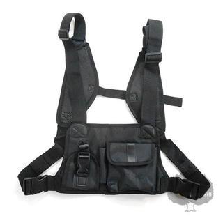 YGG★新品 フロント 2ポケット チェストバッグ 黒 ブラック(ボディーバッグ)