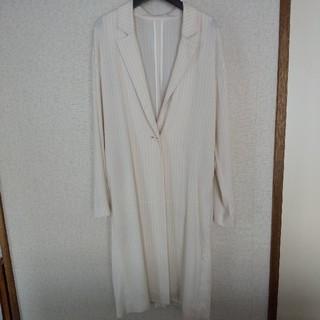 アダムエロぺ(Adam et Rope')のロングジャケット ホワイト ストライプ(スプリングコート)