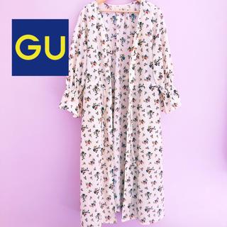 ジーユー(GU)のGU 総フラワー柄 ロングカーディガン(カーディガン)