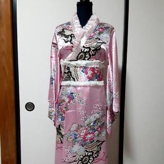 和風花柄ピンクサテン浴衣(浴衣)