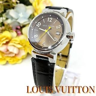 ルイヴィトン(LOUIS VUITTON)の新品並美品 ヴィトン タンブール  革ベルト レディース 時計(腕時計)