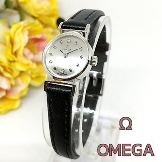 オメガ(OMEGA)の新品並美品 オメガ 18KWG 2Pダイヤ インデックス レディース手巻き時計(腕時計)