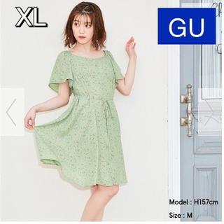 ジーユー(GU)のGU フラワープリント フロントボタンワンピース(ひざ丈ワンピース)