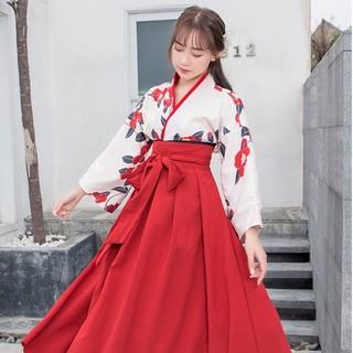 大正ロマン 袴 和装 着物 ドレス ロング 花柄 撮影 ロリータ gwkdn(衣装一式)