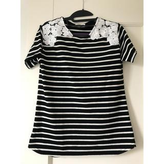 Tシャツ ボーダー 花レース 白 黒