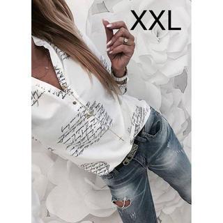 新品☆英字ロゴ♪シャツ トップス ホワイト XXL(カットソー(長袖/七分))