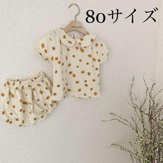 韓国子供服 セットアップ フラワー 白 80