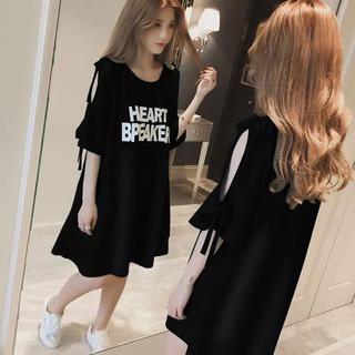 最旬カジュアル夏ロンTワンピース♡ビッグシルエットオーバーサイズTシャツ黒色3L(Tシャツ/カットソー(半袖/袖なし))