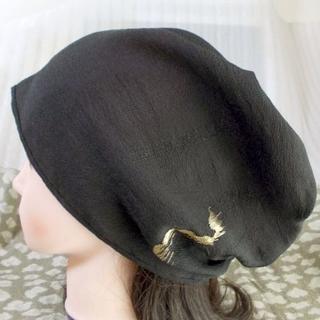最後 難有 難隠し 帽子 62㌢ 黒 さっくり織り キャップ 室内帽子(その他)