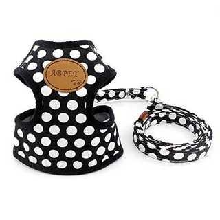 ブラックMペット犬 猫 用 ハーネス ドット柄 かわいい 小型犬 超小型犬 ハー(犬)