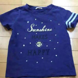 ジーユー(GU)のGU ネイビーロゴ 星 ビジュー Tシャツ120(Tシャツ/カットソー)