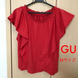 ジーユー(GU)のGU 半袖 トップス レディース M  赤 綿100%(Tシャツ(半袖/袖なし))