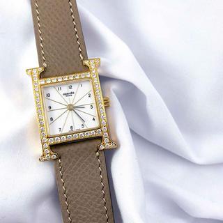 Hermes - 【仕上済】エルメス Hウォッチ ゴールド ダイヤ レディース 腕時計