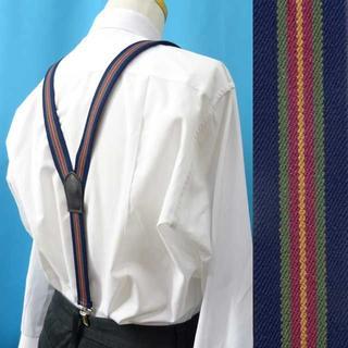日本製 サスペンダー Y型 ズボン吊 30mm 背革 本革パーツ ライン 紺(サスペンダー)