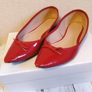 ジーユー(GU)のGU ポインテッドバレエシューズ パンプス ぺたんこ靴 XLサイズ 赤(バレエシューズ)