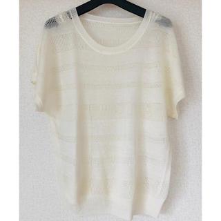 ハニーズ(HONEYS)の白透かし編みボーダーニット(カットソー(半袖/袖なし))