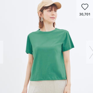 ジーユー(GU)の新品★GU カラークルーネックTシャツ グリーン M(Tシャツ(半袖/袖なし))