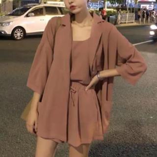 3点 セットアップ ジャケット ショートパンツ キャミソール 韓国ファッション