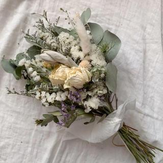 ポポラスと薔薇のナチュラルホワイト スワッグ 34cm ドライフラワー(ドライフラワー)