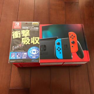 ニンテンドースイッチ(Nintendo Switch)の新品未開封 スイッチ 本体 ネオン 任天堂  Switch 液晶保護フィルム付き(家庭用ゲーム機本体)