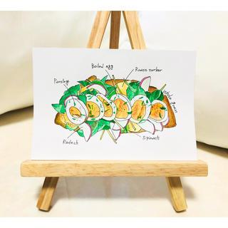 ローストターキーと半熟卵のオープンサンド【イラスト 水彩】(アート/写真)