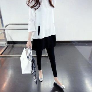 シャツワンピ スリーブドレス ゆるコーデ オルチャン ゆったり【ホワイト】(その他)