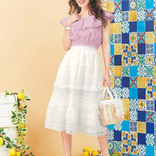 チェスティ(Chesty)の【新品、未使用】chesty  スカート 0 ホワイト  チェスティ(ひざ丈スカート)