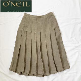 オニール(O'NEILL)のオニールオブダブリン サイドジップ ウエストギャザーリネンスカート グレージュ(ひざ丈スカート)