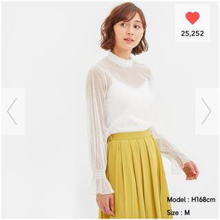 ジーユー(GU)の新品未開封 GU シアーインナーT(長袖)(ドット) オフホワイト XLサイズ(Tシャツ(長袖/七分))