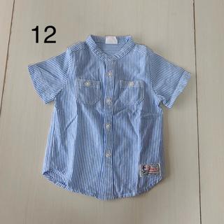 BREEZE - (15)ブリーズ ノーカラー ストライプ シャツ