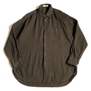 ISSEY MIYAKE - 希少90s イッセイミヤケメン プリーツシャツ 茶ブラウン 古着ビンテージ ML
