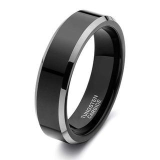 メンズ タングステン リング 鏡面加工 金属感 高級 平打ち 幅 6mm 指輪 (リング(指輪))