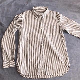 MUJI (無印良品) - 無印良品 シャツ 長袖 カーキストライプ L