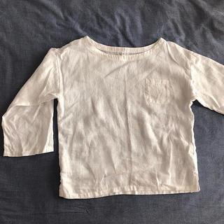 MUJI (無印良品) - 無印良品 白 カットソー リネン 2way 七分袖 半袖