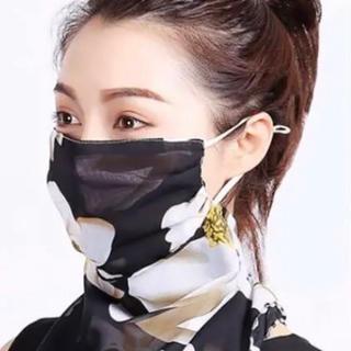 スカーフマスク 黒 サマースカーフ 冷感 フェイスカバー