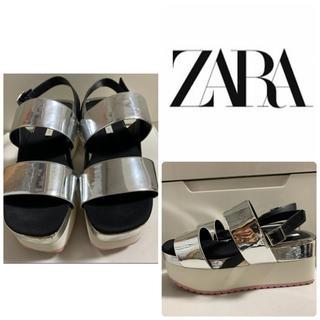 ZARA - ZARA シルバーレザー ウエッジ サンダル