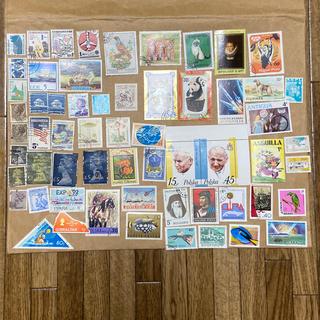 外国の切手 使用済 60枚(使用済み切手/官製はがき)