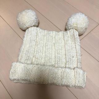 ギャップ(GAP)のニット帽 ボンボン ポンポン ダブル 二個 ホワイト 白 アイボリー(ニット帽/ビーニー)