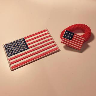 アメリカンレトロ(AMERICAN RETRO)のアメリカ国旗 USA アイロンワッペン+ヘアゴム(ヘアゴム/シュシュ)