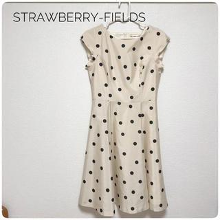 STRAWBERRY-FIELDS - 【デートにも♡】STRAWBERRY-FIELDS 水玉ワンピース ベージュ