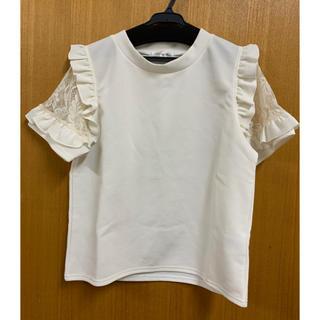 シマムラ(しまむら)のしまむら トップス 白 Tシャツ 袖レース(Tシャツ(半袖/袖なし))