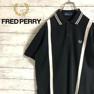 フレッドペリー(FRED PERRY)の【大人気】フレッドペリー☆刺繍ロゴ ストライプ ブラック 半袖ポロシャツ(ポロシャツ)